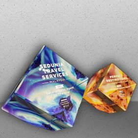 Corporate Awards Gallery Colour Printed Crystal Cubes - Trophy Land